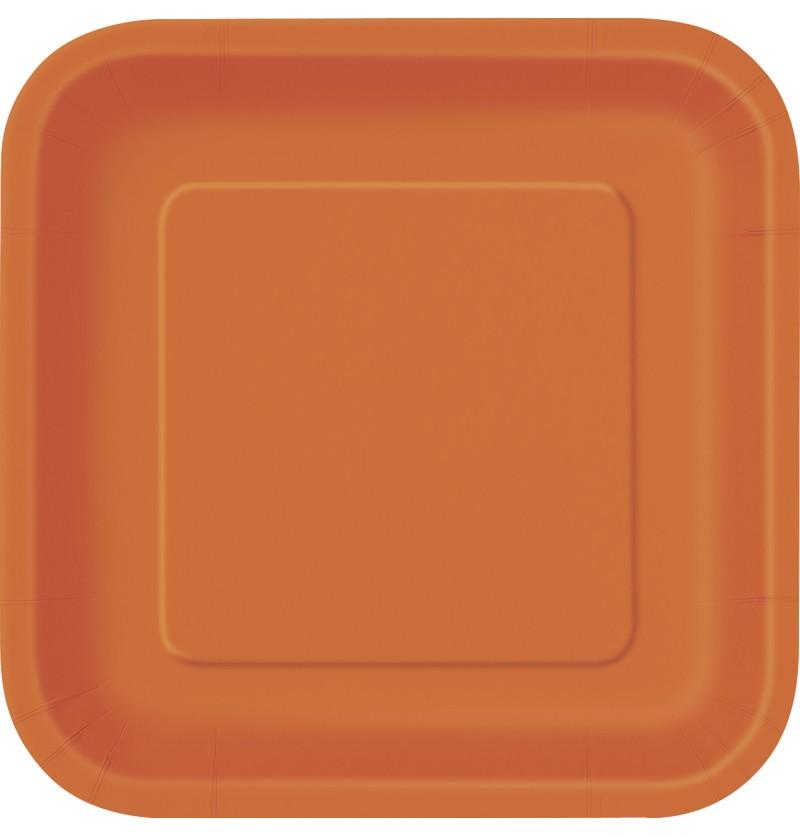 set de 16 platos cuadrados naranjas lnea colores bsicos
