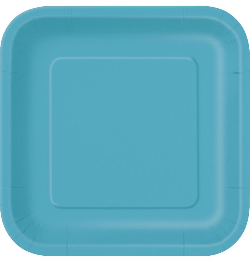 set de 16 platos cuadrados color aguamarina lnea colores bsicos