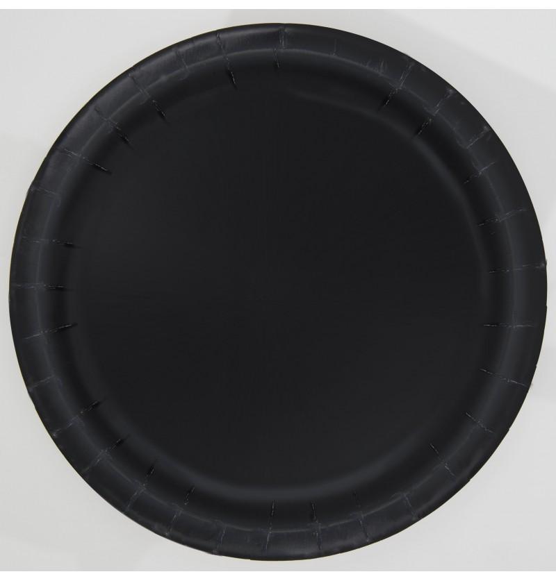 set de 16 platos negro lnea colores bsicos