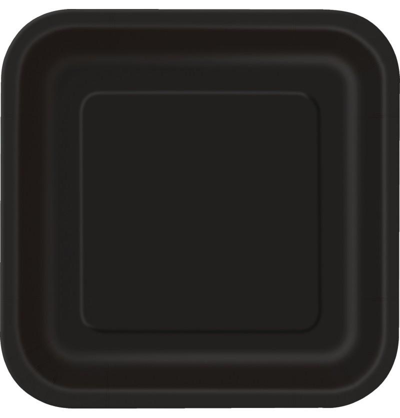 set de 14 platos cuadrados negros lnea colores bsicos