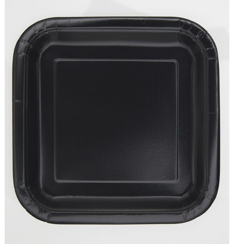 set de 16 platos cuadrados negros lnea colores bsicos