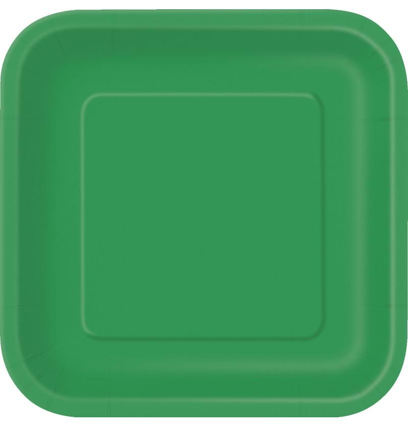 set de 14 platos cuadrados verde esmeralda lnea colores bsicos