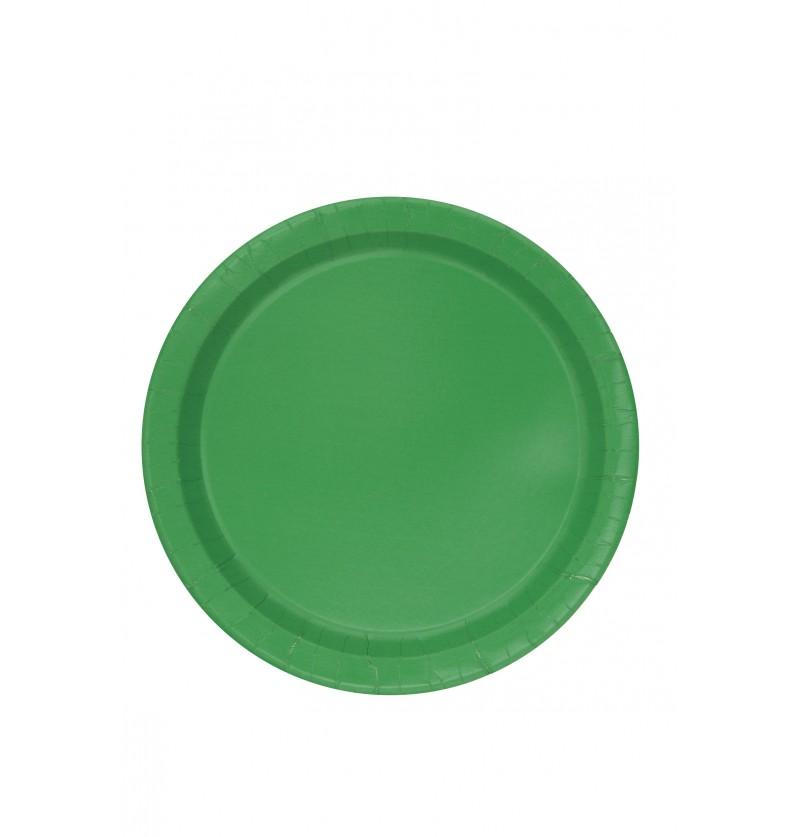 set de 20 platos medianos verde esmeralda lnea colores bsicos
