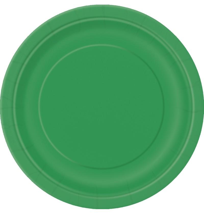 set de 8 platos verde esmeralda lnea colores bsicos