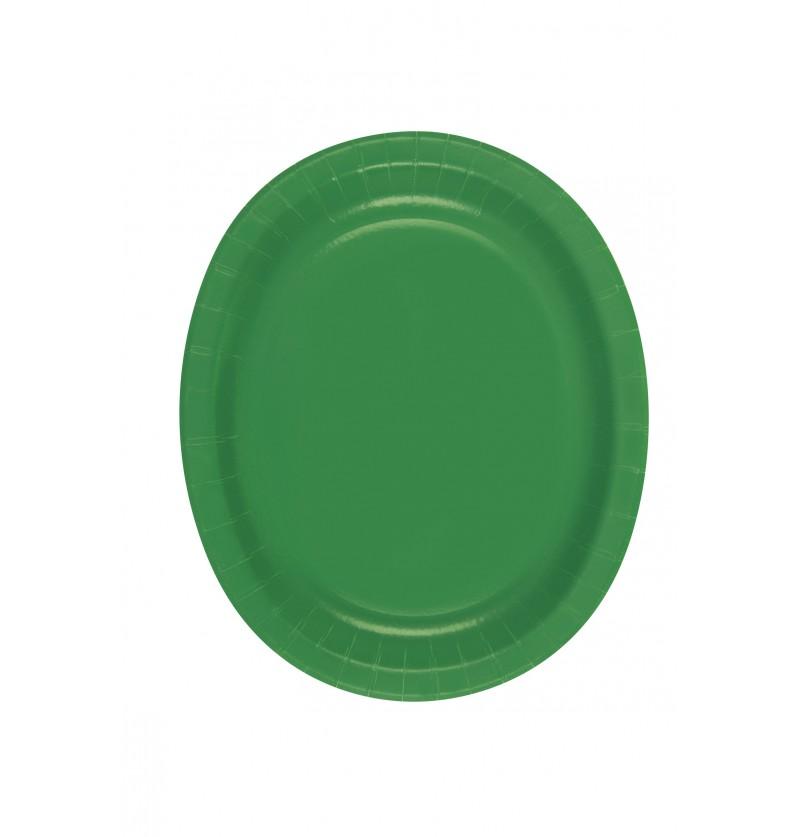 set de 8 bandejas ovaladas verde esmeralda lnea colores bsicos
