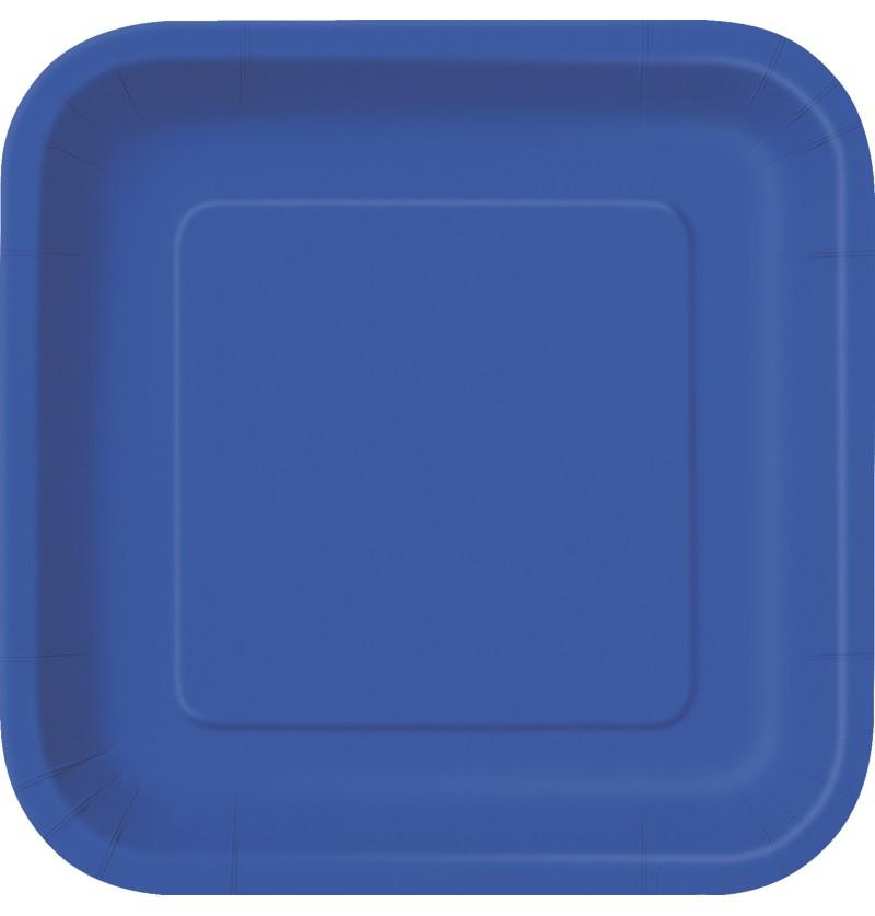 set de 16 platos cuadrados azul oscuro lnea colores bsicos