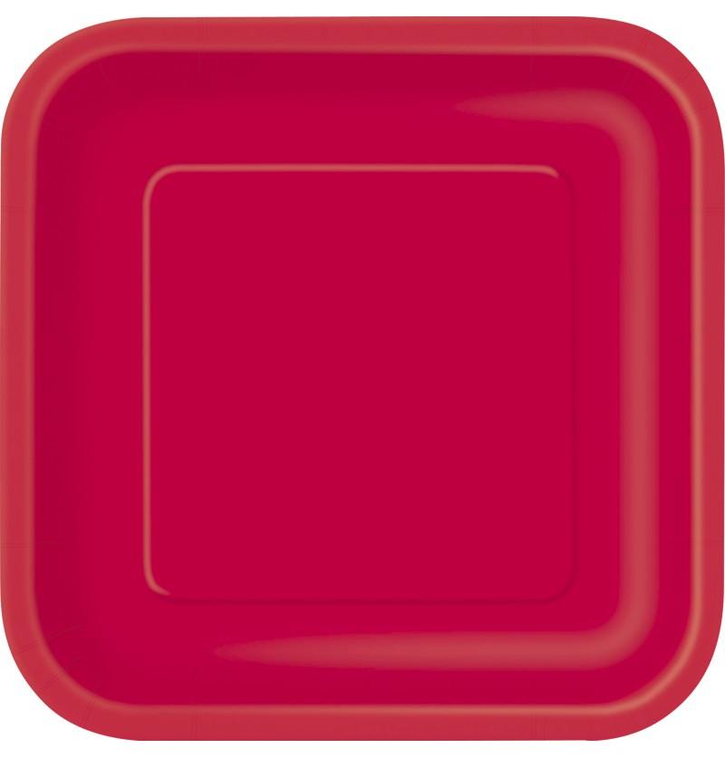 set de 14 platos grandes cuadrados rojos lnea colores bsicos