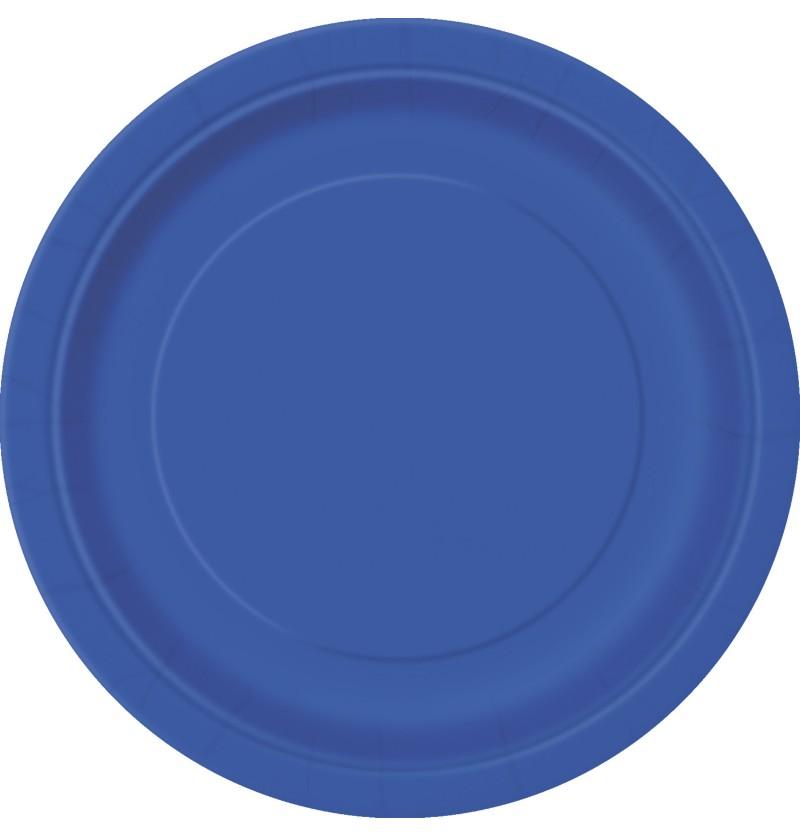 set de 8 platos de postre azul oscuro lnea colores bsicos