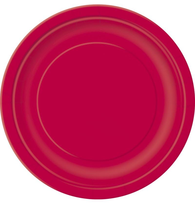 set de 20 platos medianos rojos lnea colores bsicos