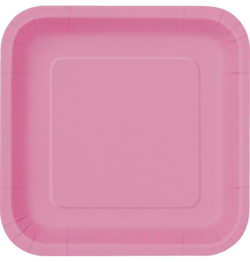 set de 14 platos cuadrados rosas lnea colores bsicos