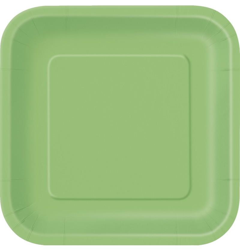 set de 14 platos cuadrados verde lima lnea colores bsicos
