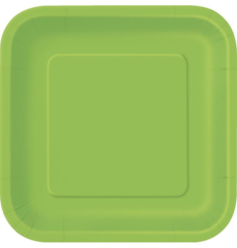 set de 16 platos cuadrados verde lima lnea colores bsicos