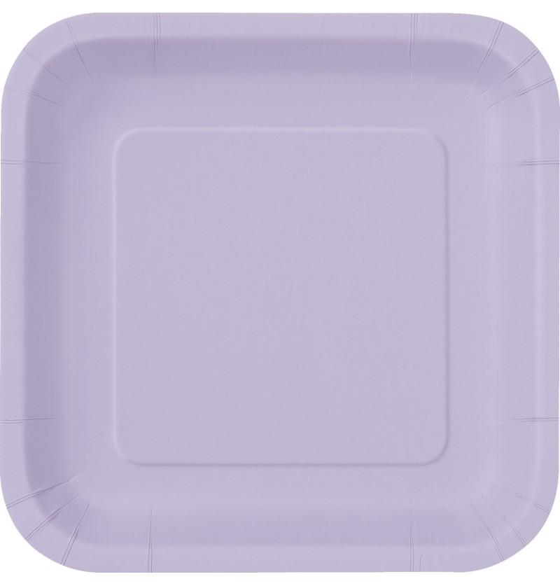 set de 14 platos cuadrados lilas lnea colores bsicos