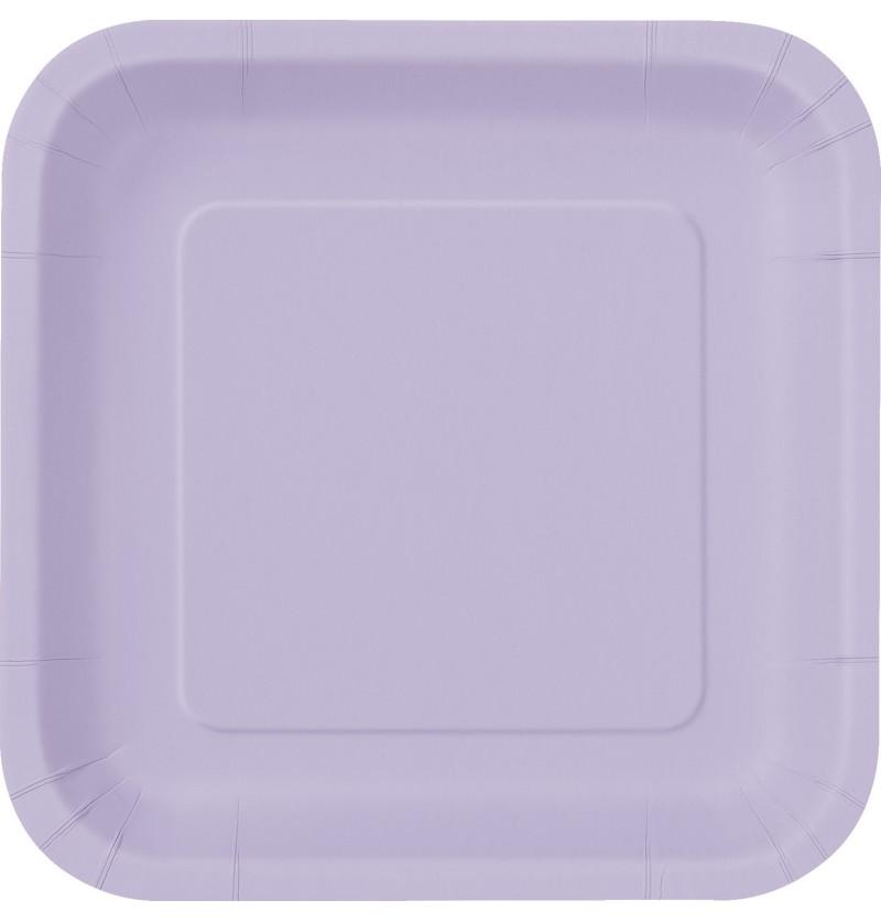 set de 16 platos cuadrados lilas lnea colores bsicos
