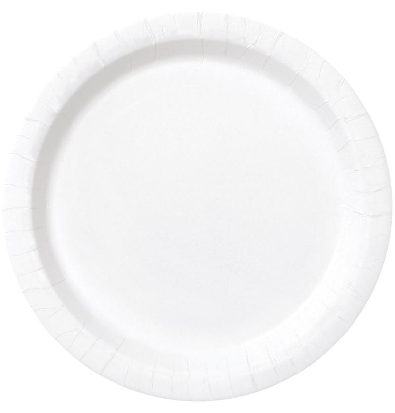 set de 16 platos blancos lnea colores bsicos