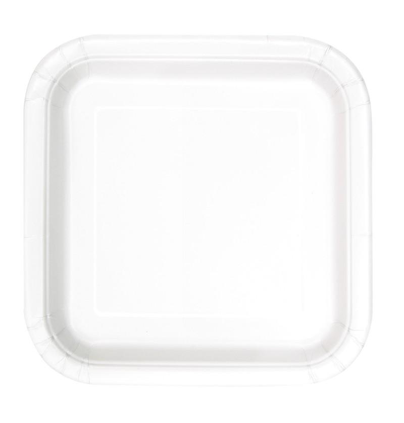 set de 14 platos cuadrados blancos lnea colores bsicos