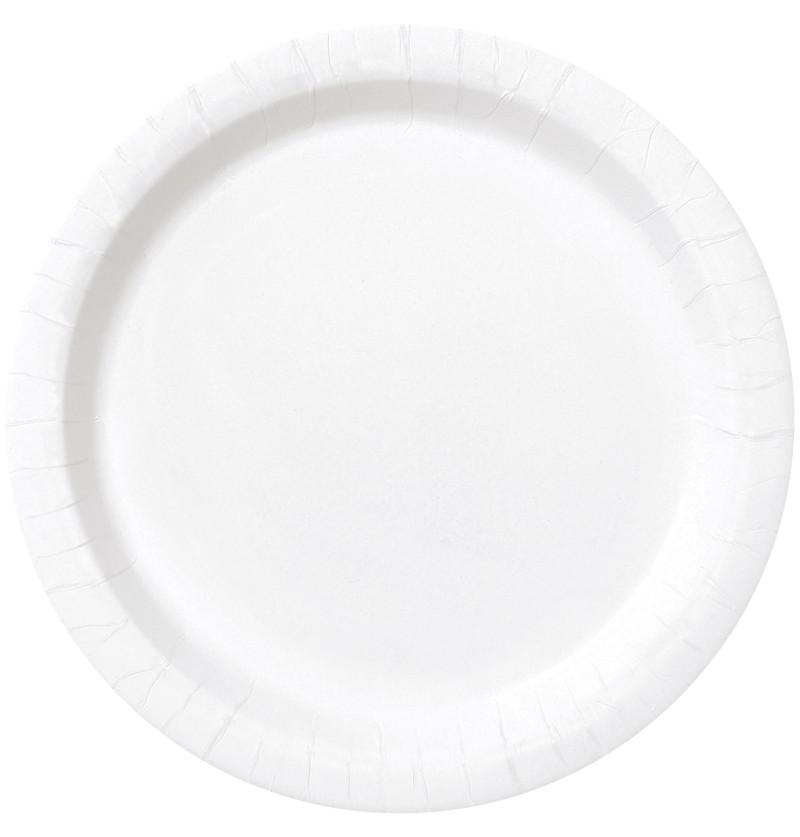 set de 20 platos blancos lnea colores bsicos