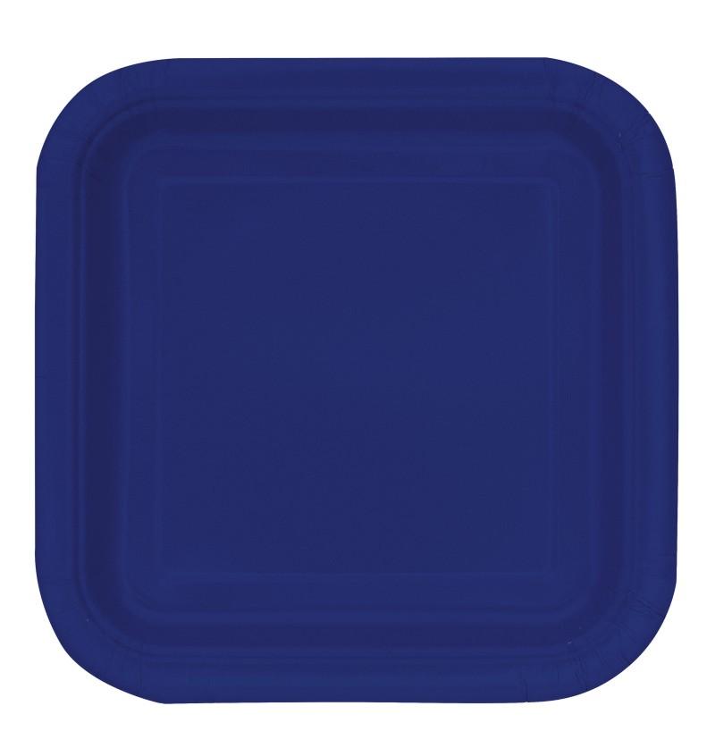 set de 16 platos cuadrados azul marino lnea colores bsicos