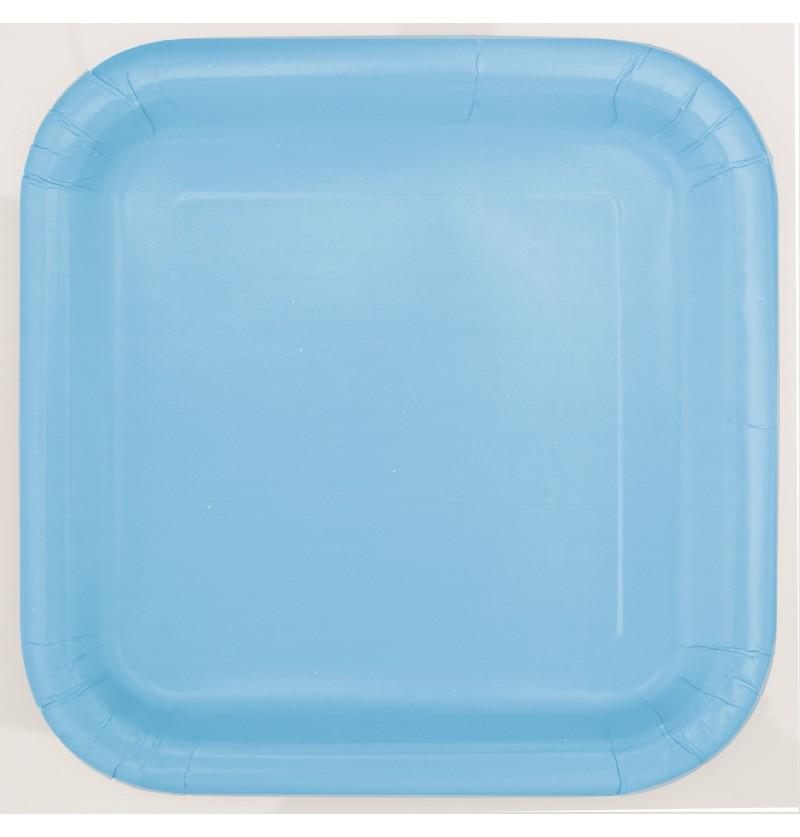 set de 14 platos cuadrados azul cielo lnea colores bsicos