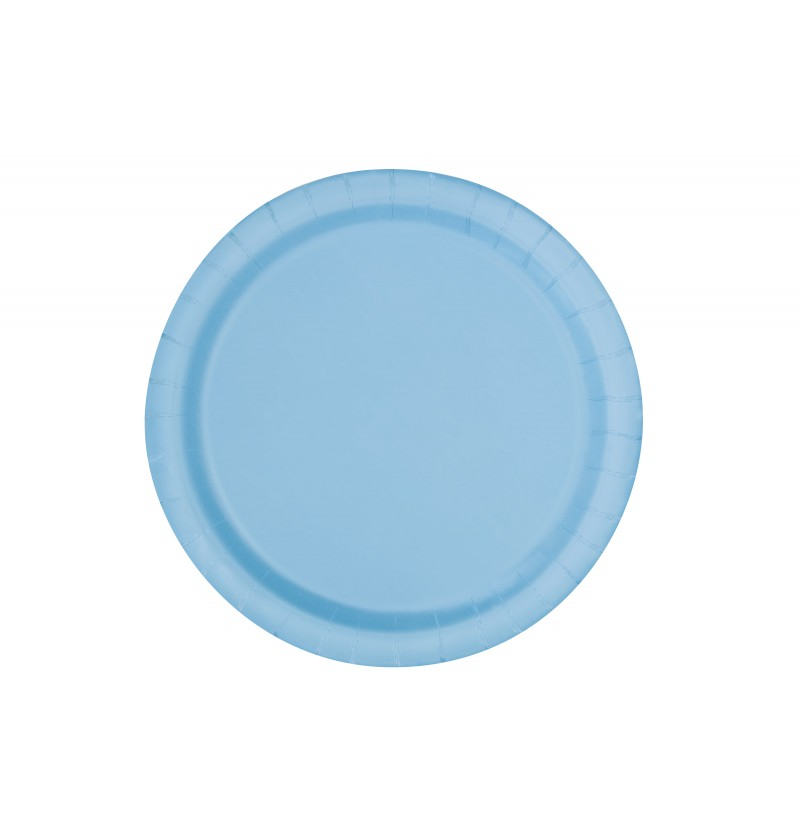 set de 20 platos medianos azul cielo lnea colores bsicos