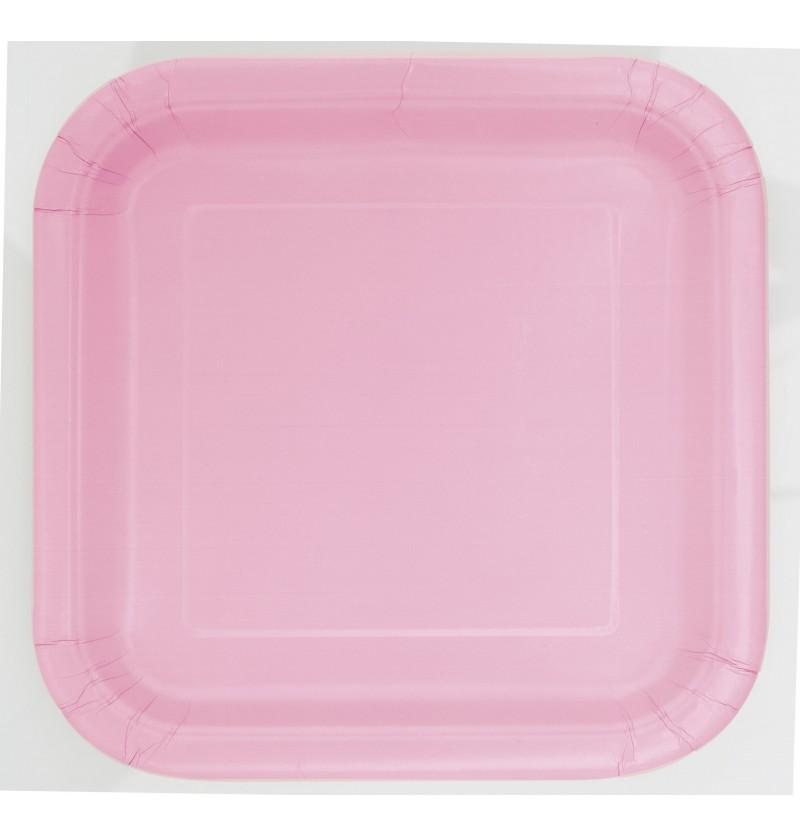set de 14 platos cuadrados rosa claro lnea colores bsicos