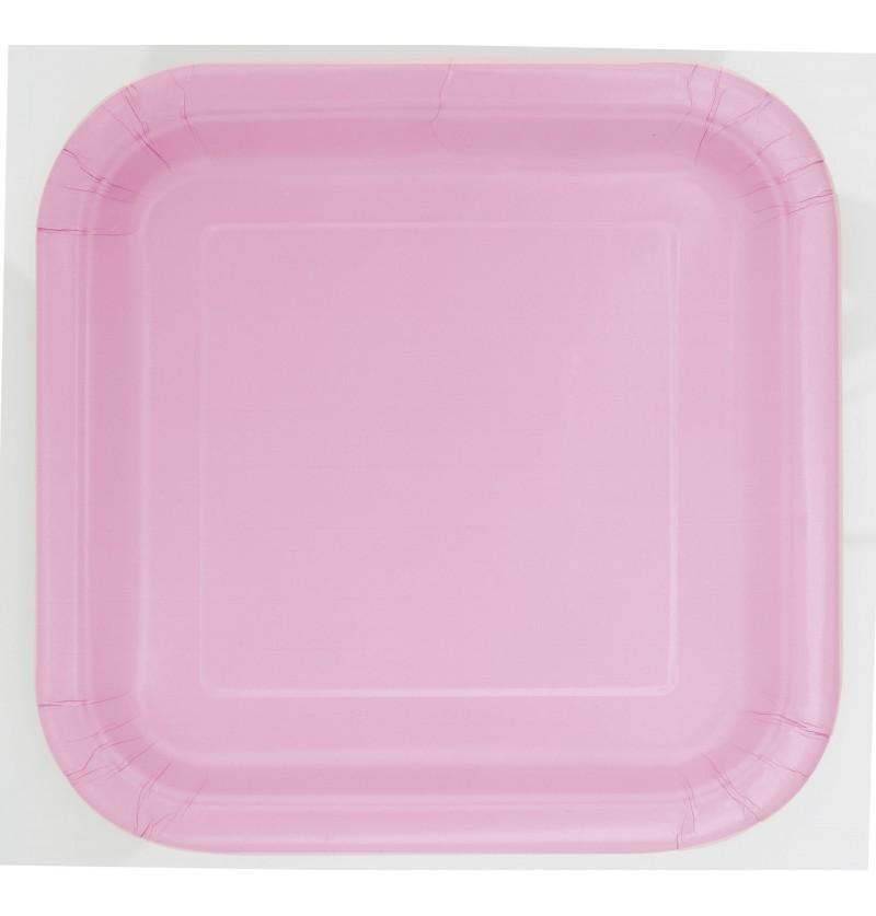 set de 16 platos cuadrados rosa claro lnea colores bsicos