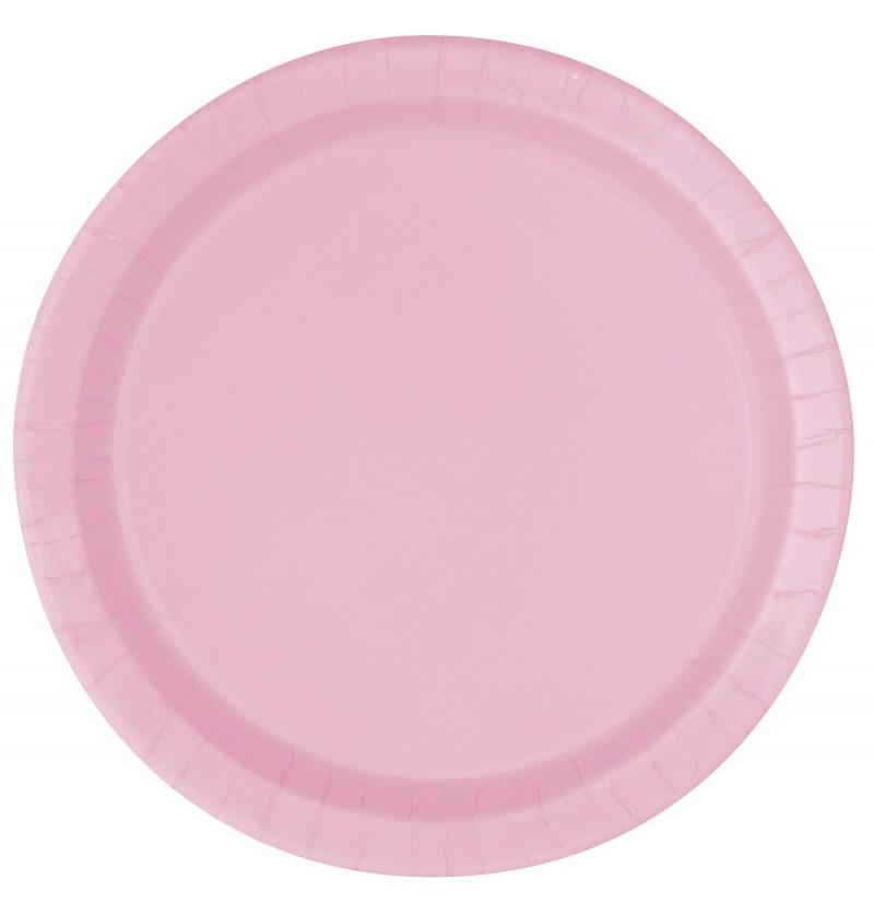 set de 16 platos rosa claro lnea colores bsicos