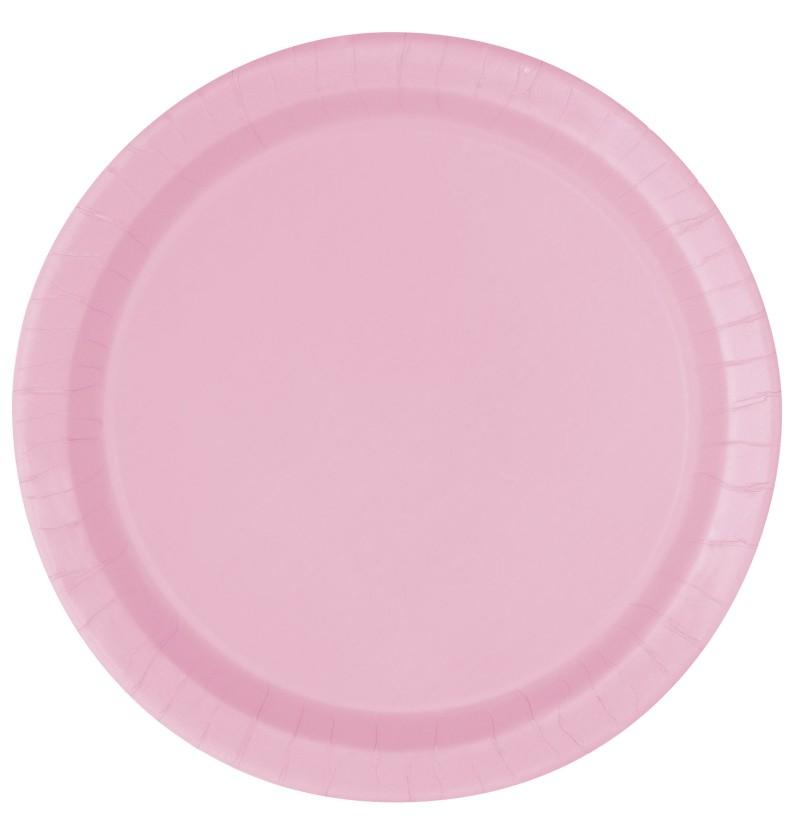 set de 8 platos medianos rosa claro lnea colores bsicos