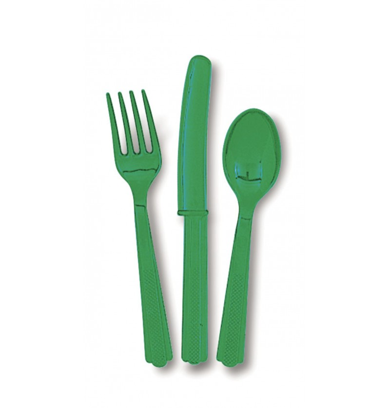set de cubiertos de plstico color verde esmeralda lnea colores bsicos
