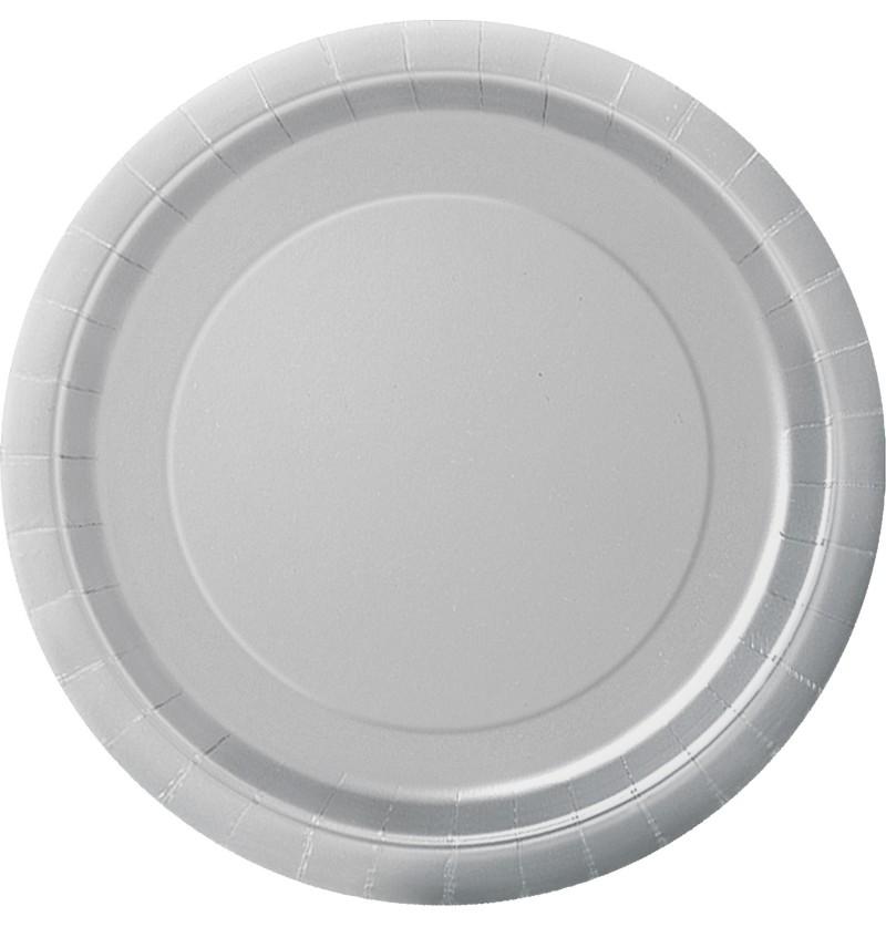 set de 8 platos plateados lnea colores bsicos
