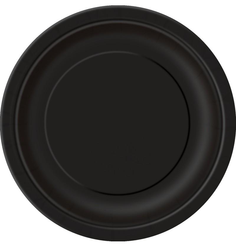 set de 8 platos negros lnea colores bsicos