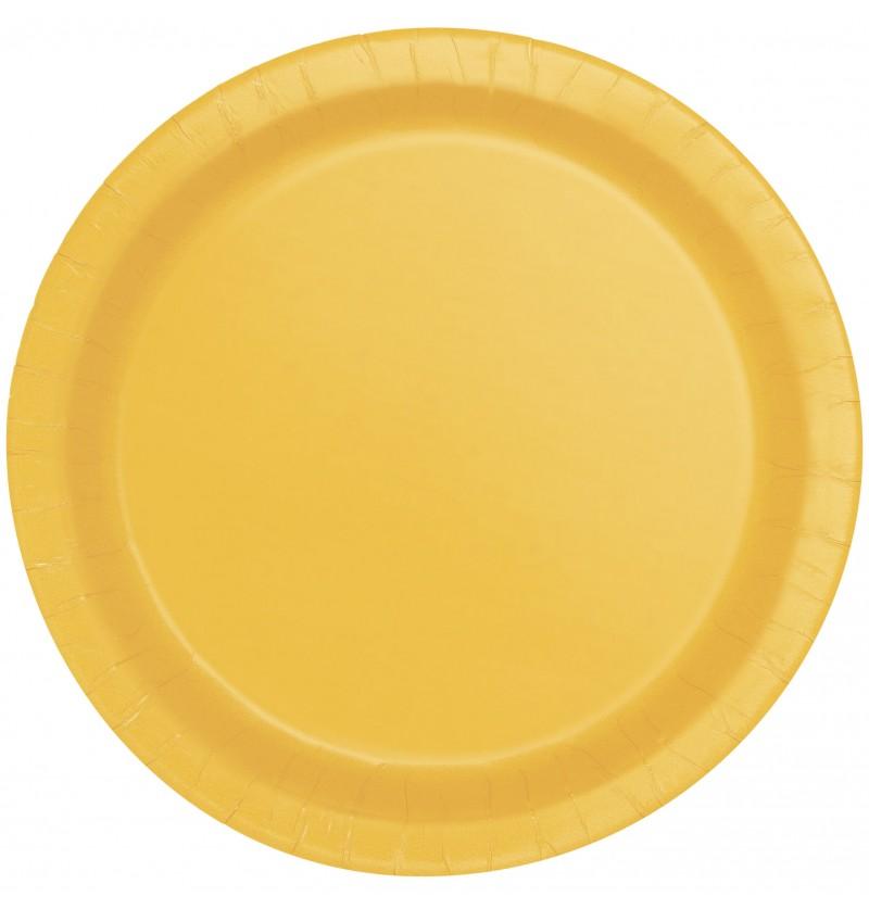 set de 8 platos amarillos lnea colores bsicos