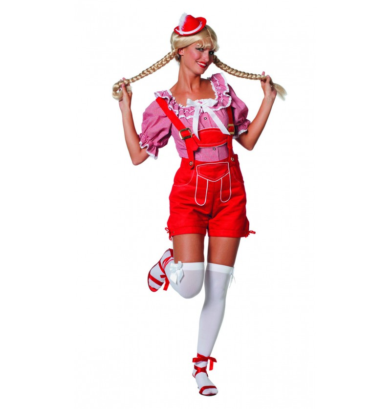 lederhose rojo oktoberfest para mujer