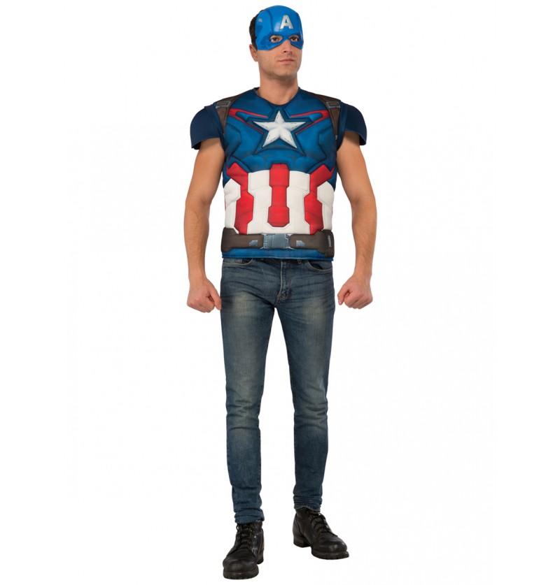 Kit disfraz Capitán América para hombre