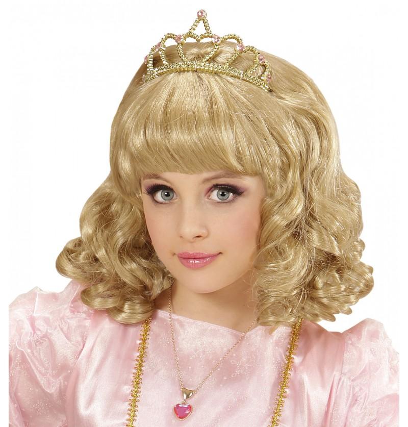 Peluca con corona de princesa para niña