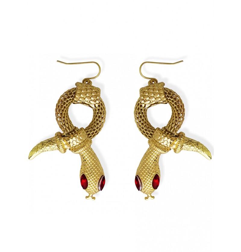 Pendientes serpiente dorados para mujer