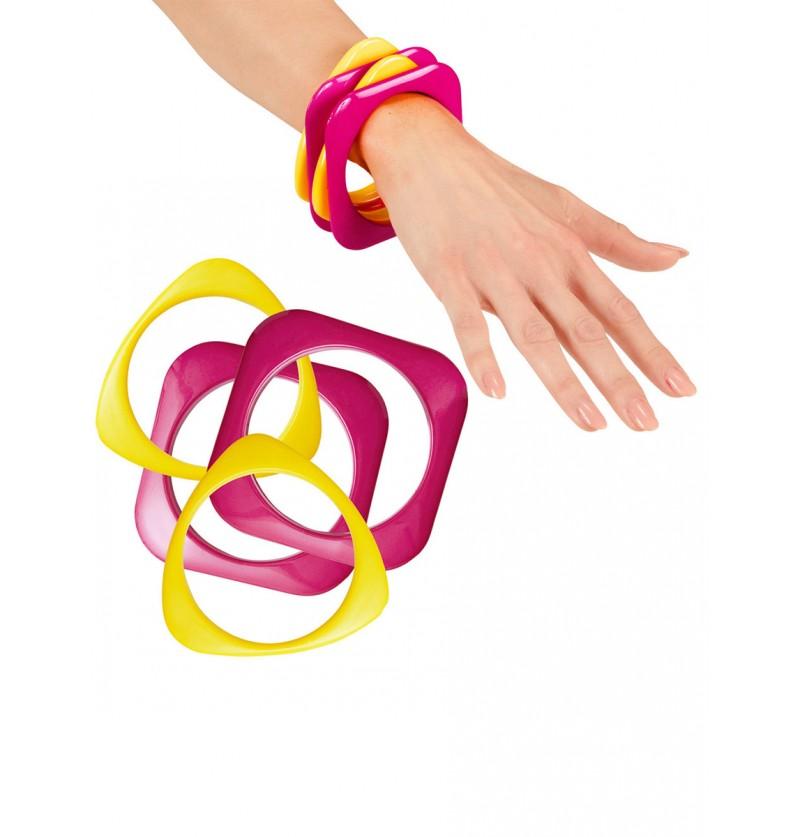 Set de 4 pulseras disco rosas y amarillas para mujer