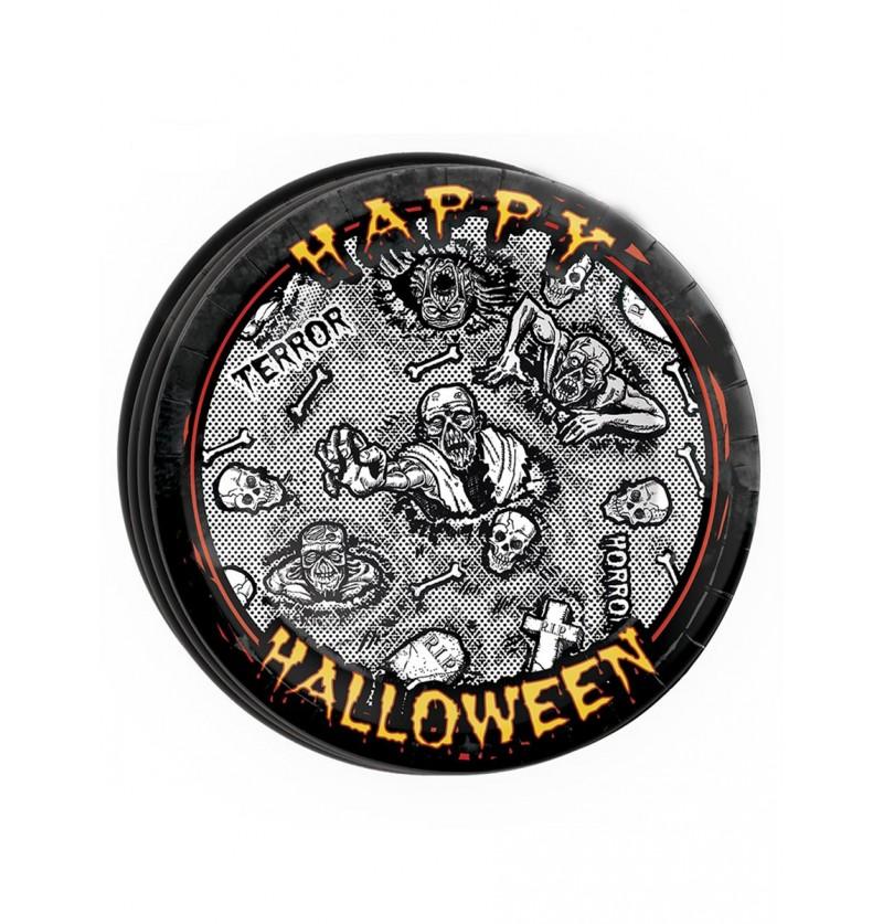 Set de 8 platos Halloween zombie