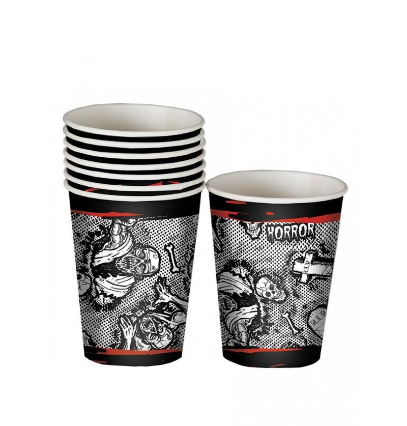 Set de 8 vasos Halloween zombie