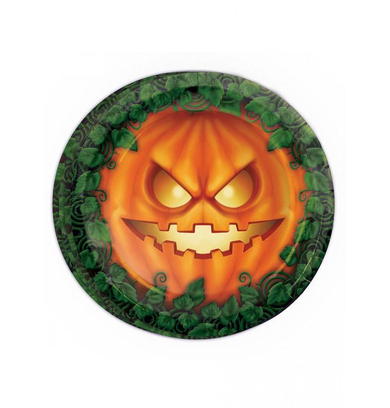 Set de 8 platos calabaza Halloween