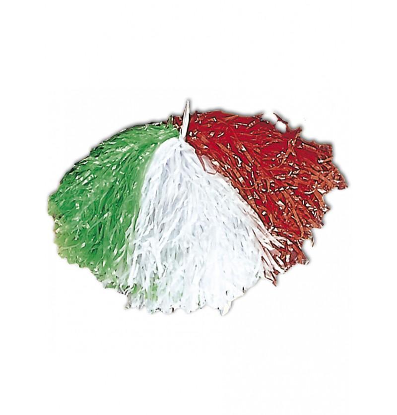 Pompón verde, blanco y rojo