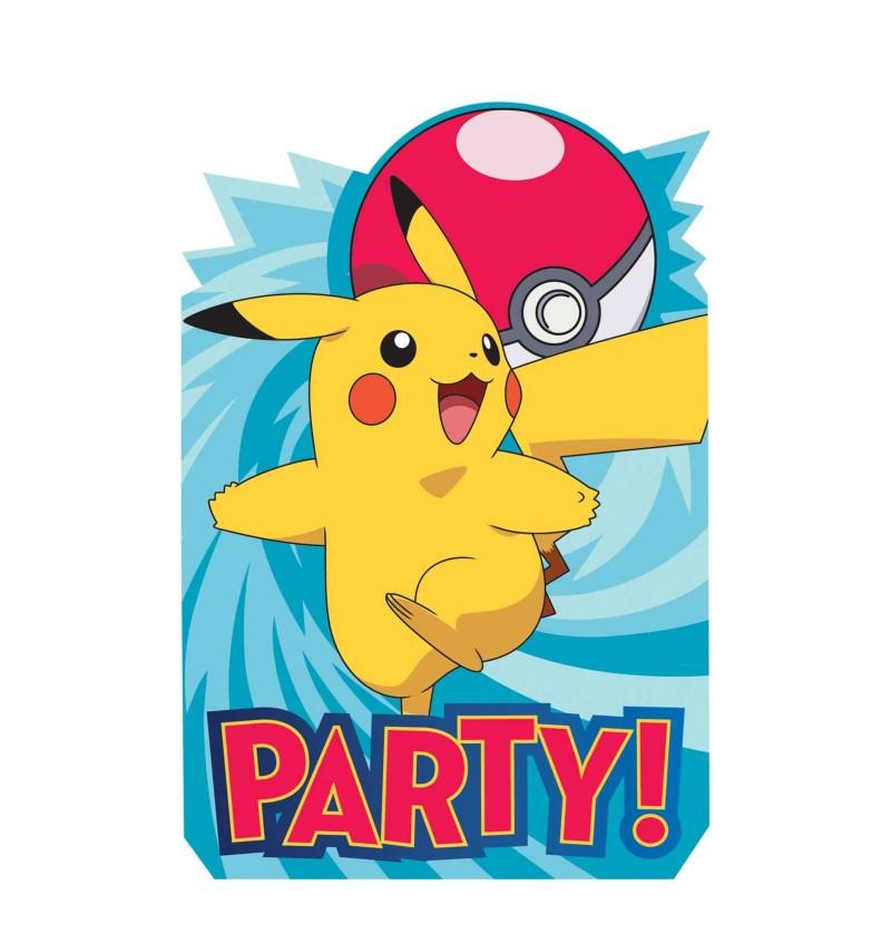 set de 8 invitaciones de pikachu pokemon