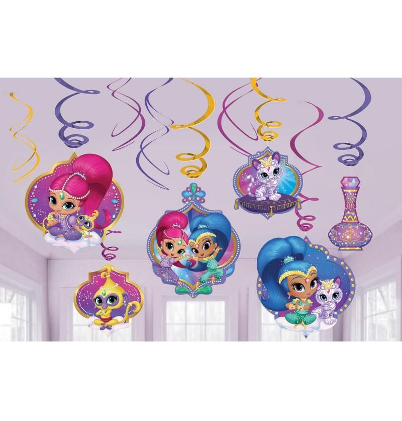set de decoracin de 12 ezas colgantes de shimmer y shine