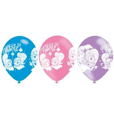 set de 6 globos de latex variados de shimmer shine