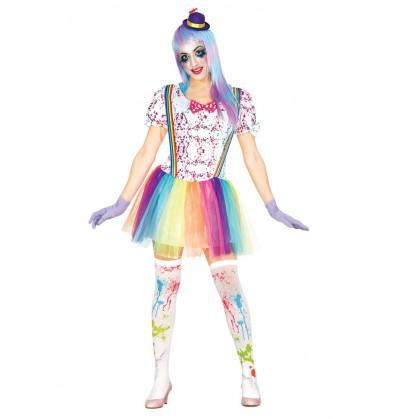 Disfraz de payasita multicolor para mujer