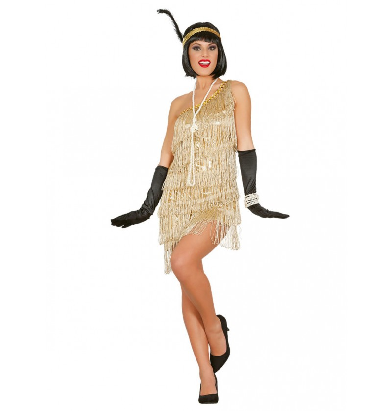 Disfraz de charlestón dorado para mujer