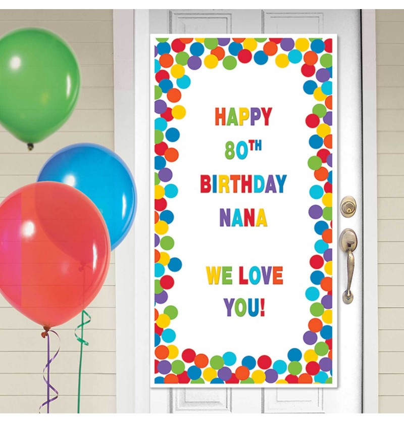 cartel personalizable cumpleaos para puerta decoracin con lunares multicolor