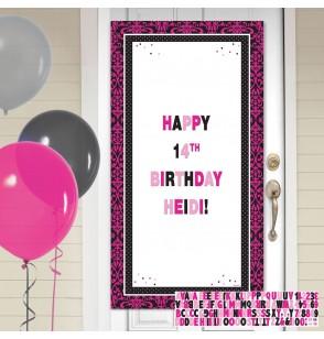 cartel personalizable cumpleaos para puerta decoracin de poca rosa y negra