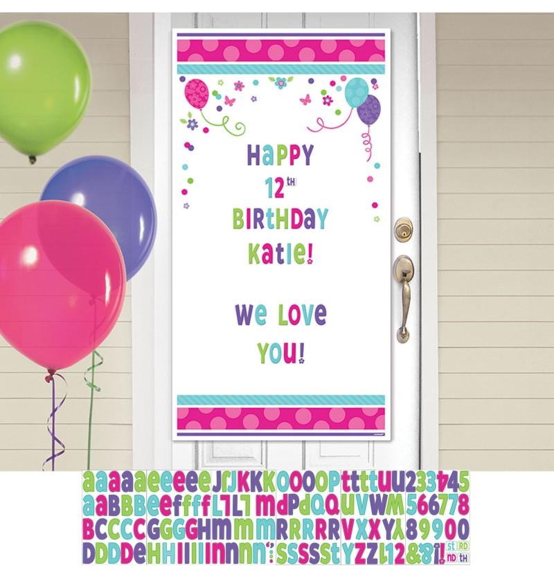 cartel personalizable cumpleaos para puerta con globos y flores
