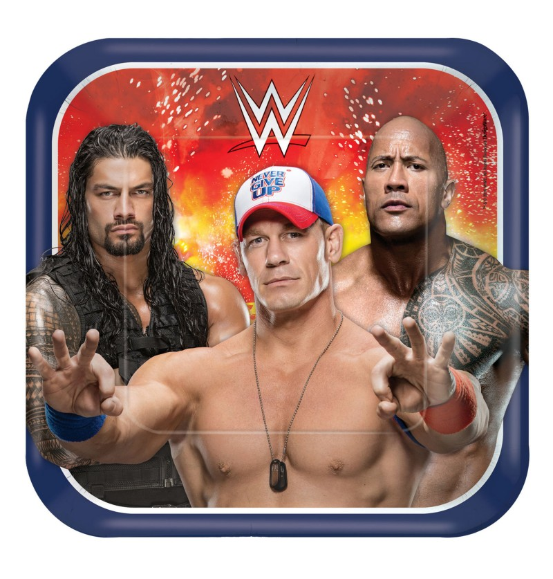 set de 8 platos grandes de wwe